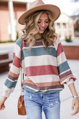 Rust - Oversized Striped Pullover