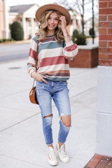 Rust - Oversized Striped Pullover from Dress Up