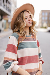 Dress Up model wearing an Oversized Striped Pullover