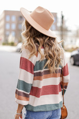 Oversized Striped Pullover Back View