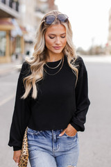 Black - Ribbed Knit Crop Top from Dress Up