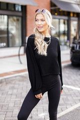 Dress Up model wearing a Ribbed Knit Crop Top with black leggings