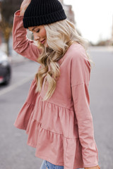 Tiered Babydoll Top in Blush Side View