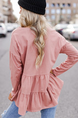 Tiered Babydoll Top in Blush Back View