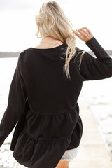 Tiered Babydoll Top in Black Back View