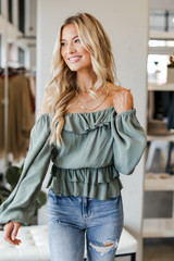 Sage - Ruffled Blouse from Dress Up