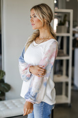 Tie-Dye Ribbed Knit Top Side View