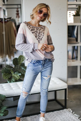 Grey - Oversized Leopard Chevron Pullover from Dress Up