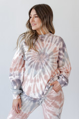 Model wearing an Oversized Tie-Dye Pullover with the matching joggers