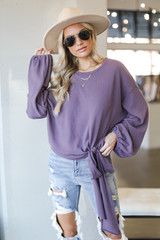 Lavender - Brushed Knit Tie-Front Top in Front View