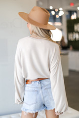 Brushed Knit Tie-Front Top in Taupe Back View