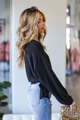 Brushed Knit Tie-Front Top in Black Side View