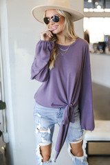 Lavender - Brushed Knit Tie-Front Top