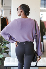 Brushed Knit Tie-Front Top in Lavender Back View