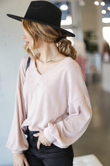 Ribbed Knit Pullover in Blush Side View