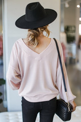 Ribbed Knit Pullover in Blush Back View