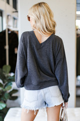 Ribbed Knit Pullover in Black Back View