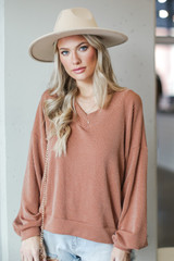 Ribbed Knit Pullover in Rust Front View
