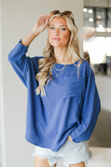 Denim - Model wearing an Oversized Front Pocket Blouse