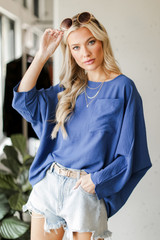 Denim - Dress Up model wearing an Oversized Front Pocket Blouse