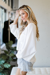Oversized Front Pocket Blouse in White Side View