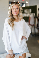 Oversized Front Pocket Blouse in White Front View