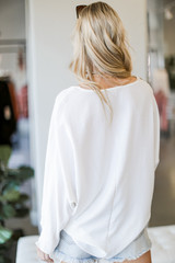 Oversized Front Pocket Blouse in White Back View
