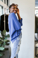 Oversized Front Pocket Blouse in Denim Side View