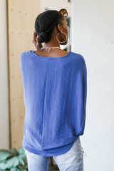 Oversized Front Pocket Blouse in Denim Back View