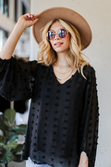 Black - Swiss Dot Blouse