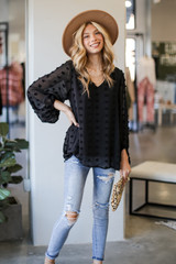 Black - Swiss Dot Blouse from Dress Up