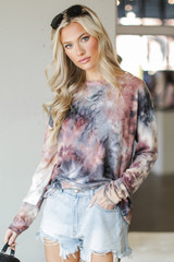 Oversized Tie-Dye Cutout Top in Blush Front View