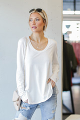 White - Model wearing a Basic Oversized Knit Top