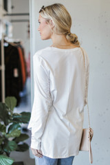 Basic Oversized Knit Top in White Back View