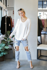 Basic Oversized Knit Top in White Front View