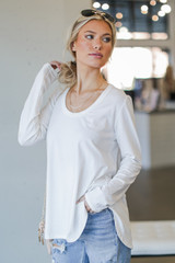 Basic Oversized Knit Top in White Side View
