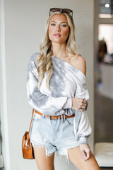 Grey - Tie-Dye Cropped Pullover
