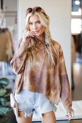 Brown - Model wearing a Tie-Dye Waffle Knit Top