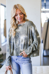 Tie-Dye Waffle Knit Top in Olive Front View