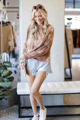 Dress Up model wearing a Tie-Dye Waffle Knit Top in Brown with denim shorts