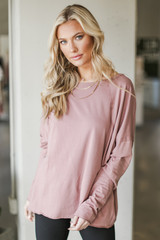 Mauve - Model wearing a Basic Oversized Knit Top
