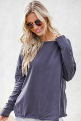 Charcoal - Model wearing a Basic Oversized Knit Top with denim shorts