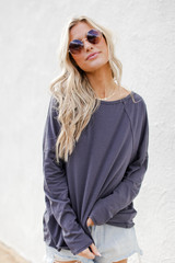 Charcoal - Dress Up model wearing a Basic Oversized Knit Top with denim shorts