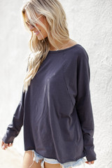 Basic Oversized Knit Top in Charcoal Side View