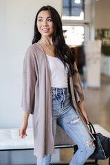 Taupe - Waffle Knit Cardigan from Dress Up