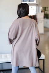 Waffle Knit Cardigan in Taupe Back View