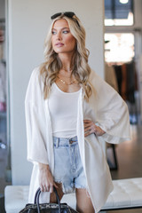 Waffle Knit Cardigan in Ivory Front View