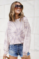 Oversized Tie-Dye Pullover in Lavender Front View