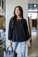 Puff Sleeve Blouse in Black Front View