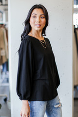 Puff Sleeve Blouse in Black Side View